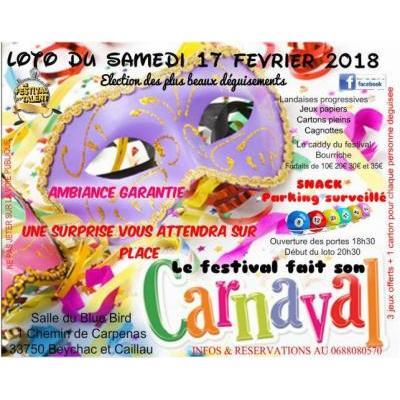 MAXI LOTO DE CARNAVAL 7 700 e de bons d'achat et lots à Beychac-et-Caillau
