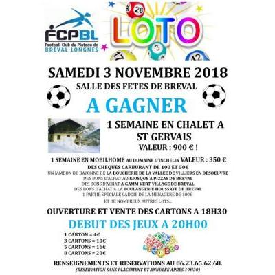 LOTO DU FC PLATEAU DE BRÉVAL LONGNES LE SAMEDI 3 NOVEMBRE 2018