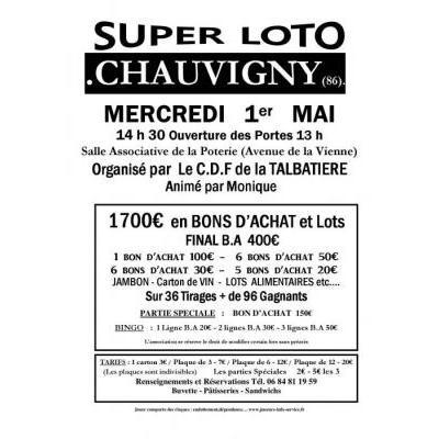 Super Loto Organisé par  Le C.D.F de la TALBATIERE  Animé par Monique