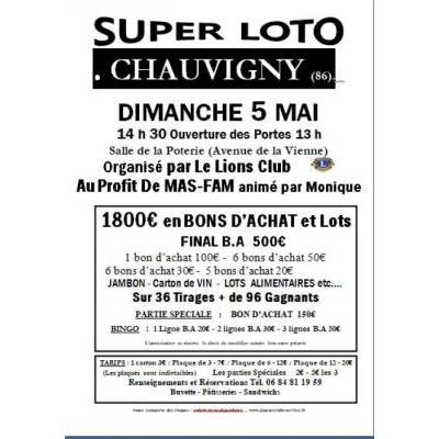 SUPER LOTO Organisé par Le Lions Club       Au Profit De MAS-FAM animé par Moniq