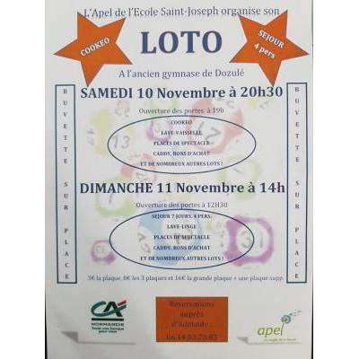 Sam 10 Nov 20h30 : Loto au profit des enfants de l'école Saint Joseph de Dozulé