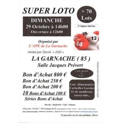 Affiche du loto à La Garnache (85) le 29/10/2017