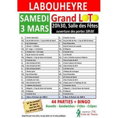 Grand loto bingo de la Jsl tennis le 3 mars à Labouheyre à 20h30