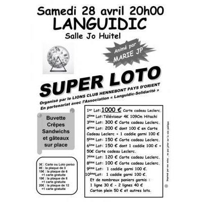 Super Loto salle Jo Huitel 20h00 à Languidic