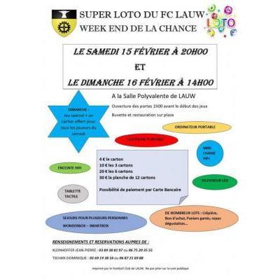 SUPER LOTO DU FC LAUW - WEEKEND DE LA CHANCE à Lauw