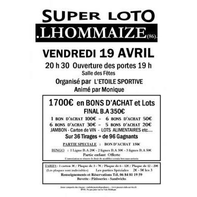 Super LOTO Organisé par  L'ETOILE SPORTIVE  Animé par Monique