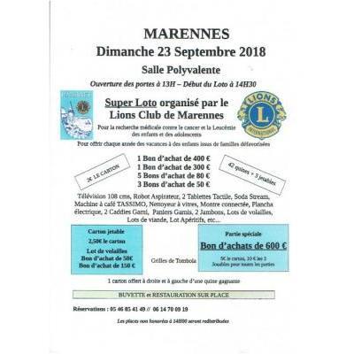 Super Loto du Lions Club de Marennes