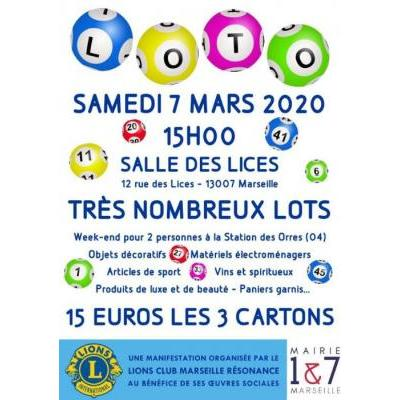 Grand Loto Annuel du Lions Club Marseille Résonance