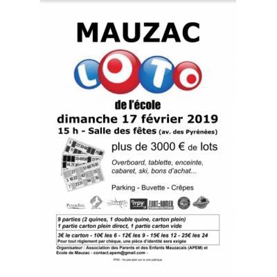 Loto de l'Ecole Jean-Jacques Rousseau de Mauzac