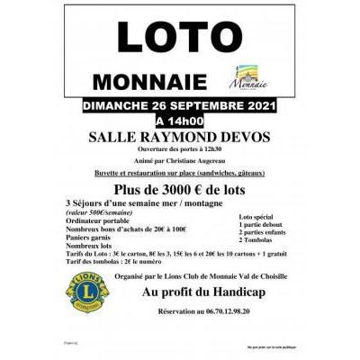 Loto du Lions Club de Monnaie Val de Choisille