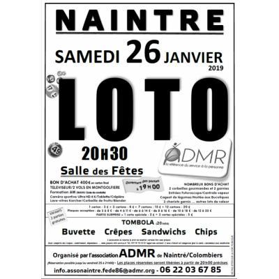 GRAND LOTO annuel de l'ADMR Naintré/Colombiers
