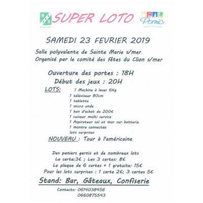 Super loto organisé par le Comité des Fêtes du Clion s/mer