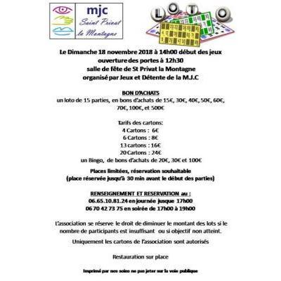 Loto et Bingo de Jeux et Détente de la MJC