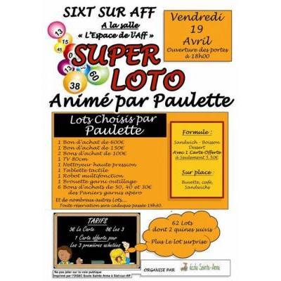 SUPER LOTO animé par Paulette et organisé par l'école Sainte Anne