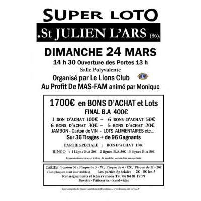 Super Loto Le Lions Club  Au Profit De MAS-FAM animé par Monique