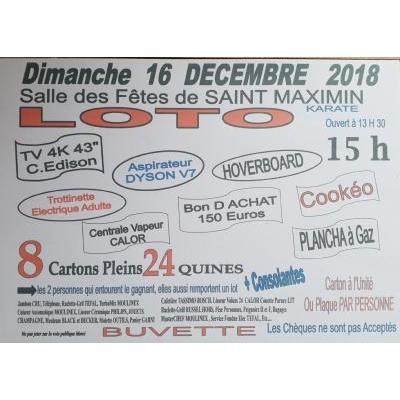 GRAND LOTO DU KARATE DIMANCHE 16 DECEMBRE 2018   15 H