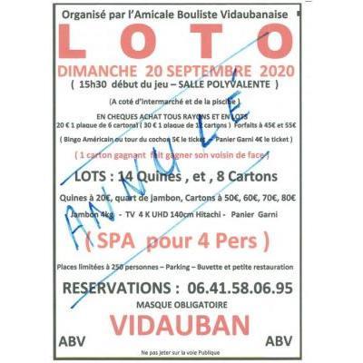LOTO organisé par ABV à vidauban