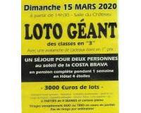 """LOTO GEANT des classes en """"3"""" - Charnay en Beaujolair 69"""